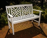 Fretwork Bench - White