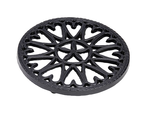 "7"" Sunburst - Cast Iron Trivet - Blue Black"