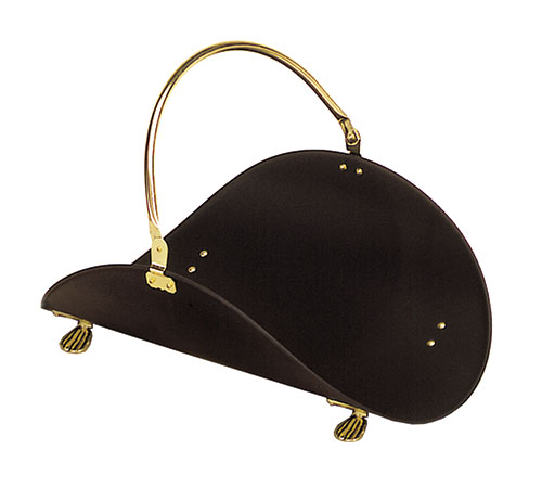 "Log Basket - Brass Plated & Black - 21"" L"