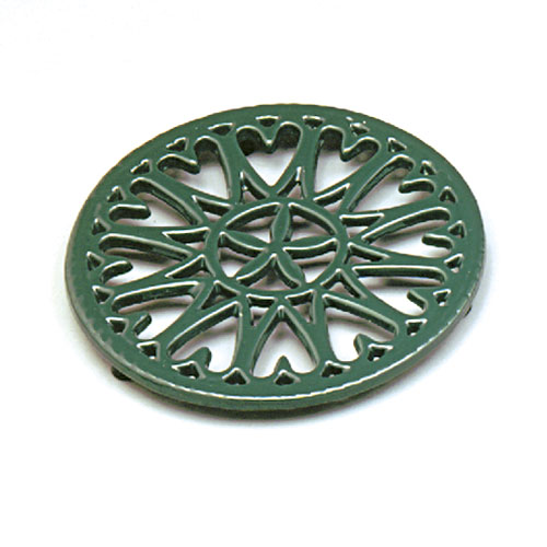 "7"" Sunburst - Cast Iron Trivet - Green"
