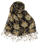 Rock Flower Paper Passion Flower Black Scarf