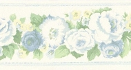 Antique Blue Floral Wallpaper Border AB78290