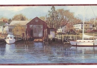 Northern Harbor Scenic Sea Wallpaper Border CW32122b