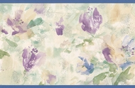 Watercolor Flowers Wallpaper Border BYB340902