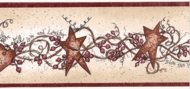 Stars, Hearts and Berries (red trim) Wallpaper Border HH28003b