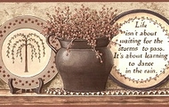 Folk Country Expressions On Plates (Burgundy Trim) Wallpaper Border