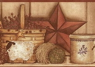 Country Pottery Shelf Wallpaper Border