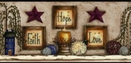 Faith Hope Love Shelf Wallpaper Border