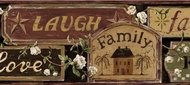 Faith, Family Friends Signs Wallpaper Border