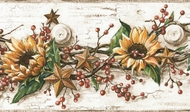 Sunflower Berries Tin Stars Peg Wallpaper Border
