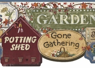 Garden Signs Wallpaper Border (blue)
