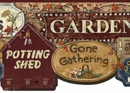 Garden Signs Wallpaper Border (burgundy)