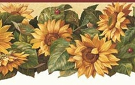 Sunflower Ladybugs Wallpaper Border