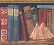 Library Shelf Wallpaper Border