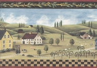 Primitive Farm Village Wallpaper Border MCB5700