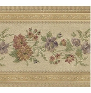 Gold Satin Floral Wallpaper Border
