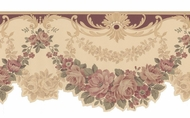 Scalloped Edge Floral Satin Wallpaper Border