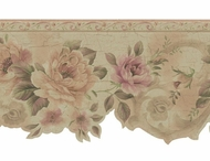 Gold Scalloped Satin Floral Wallpaper Border