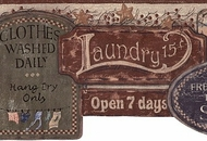 Laundry Signs Wallpaper Border