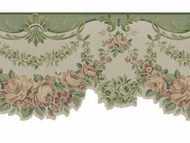 Green Satin Rose Swag Wallpaper Border