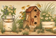 Buckets of Blooms Birdhouses Wallpaper Border AAI08053b