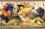 Roosters and Chicks Wallpaper Border