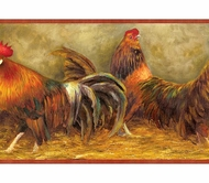 Farm Roosters and Chickens Wallpaper Border