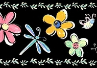 Bugs and Flowers Wallpaper Border
