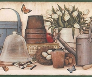 Potting Shed Shelf Wallpaper Border