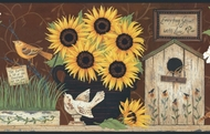 Sunflowers & Birdhouses Wallpaper Border