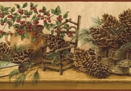 Pine Cone Baskets & Berries Wallpaper