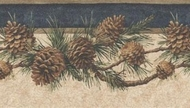 Blue Pinecone Wallpaper Border