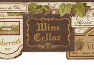 Wine Sign Wallpaper Border PA5437b
