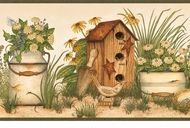 Buckets of Blooms Birdhouses Wallpaper Border AAI08051b