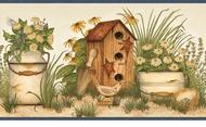 Buckets of Blooms Birdhouses Wallpaper Border AAI08052b