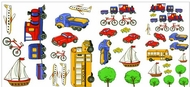 Lets Go Cars Bus Train Sailboat Truck Stickers