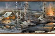Winter Cabin In The Woods Wallpaper Border LL50012b