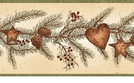 Hearts, Stars, Pine Cones Wallpaper Border LL50021b