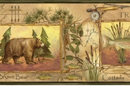 Bear, Trout, Moose Wilderness Wallpaper Border  LL50072b