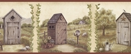 Country Meadows Outhouse Wallpaper Border PUR44552b