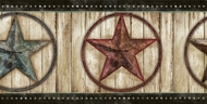 Weathered Barn Star Wallpaper Border PUR44661b