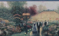 "Thomas Kinkade ""Garden Party"" Wallpaper Border 30884120"