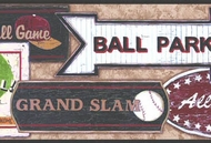 Vintage Baseball Signs Wallpaper Border SK6295bd