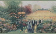 "Thomas Kinkade ""Garden Party"" Wallpaper Border 30884110"