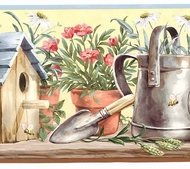 Birdhouses and Gardening Wallpaper Border KR2236b