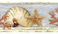 Shells, Coral, Starfish Wallpaper Border KBE12631b