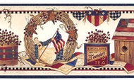 Patriotic Country Collectibles Wallpaper Border KBE12621b