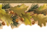 Oak Leaves & Acorns Wallpaper Border LL50121b