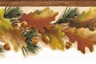 Oak Leaves & Acorns Wallpaper Border LL50122b