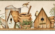 Watering Cans Birdhouses Wallpaper Border FAM65062b